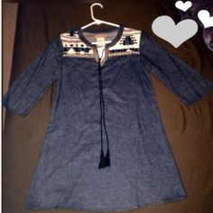 NWT FLYING TOMATO DENIM TUNIC NWT FLYING TOMATO DENIM TRIBAL TUNIC/DRESS. Goes great with leggings! Denim looking material & very light  material with 3/4 sleeves so can be worn in the spring & summer! Flying Tomato Dresses Mini