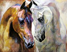 Horse Artists' Paintings | Horse art | Pferde gemalt: Arabian Horse Duet | Zwei arabische Pferde