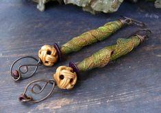 Unfurling - wearable art polymer long furled green gold leaves, carved bone, copper leaf pin organic rustic woodland leaf earrings.