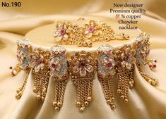 Gold Bangles Design, Gold Earrings Designs, Gold Jewellery Design, Necklace Designs, Bridal Jewellery Inspiration, Indian Bridal Jewelry Sets, Garnet Jewelry, Gold Jewelry, Wedding Necklace Set