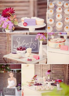 """shabby chic wedding -- love the """"sweets"""" sign! could use this for the table with the caramel and candy apples, and the favors!"""
