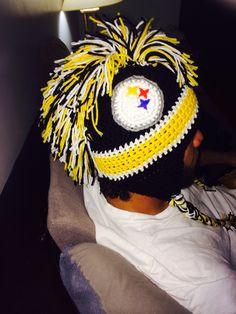 Crocheted steelers hat