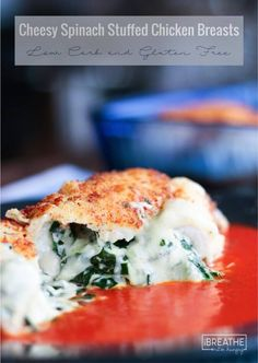 Cheesy Spinach Stuffed Chicken Breast - the perfect low carb dinner the whole family will love!