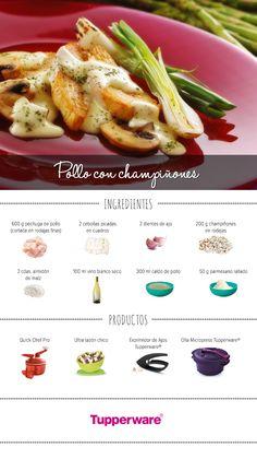 Estrena tu Olla Micropress preparando un delicioso pollo. #Tupperware #Recetas #PolloConChampiñones