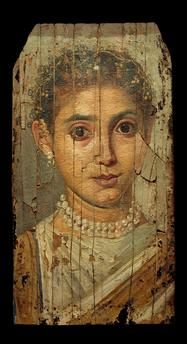 Portrait of a young woman | Egyptian.  Encaustic painting on wood,  35,3 × 18,3 cm.