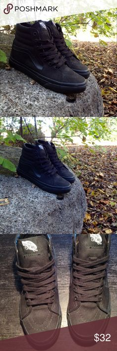 All Black Sk8 Hi Vans Excellent Used Condition. No stains or signs of fading. All black Sk8 Hi Vans High tops with the black leather swoosh. Vans Shoes Sneakers