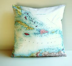 CARRIBEAN organic cotton map cushion pillow by mybeardedpigeon, $55.00