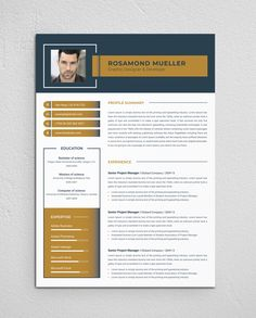 Product Descriptions: This resume template is fully layered. there are three version (MS Word, PSD & EPS) Included in main file. Swatches color is used in this resume. So it is easy to customize… Resume Template Examples, Resume Template Free, Free Resume, Resume Cv, Simple Resume, Creative Resume, Resume Design, Ad Design, Senior Project