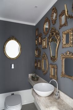 Henrique Steyer - gilded mirrors, grey walls, white crown molding, white vessel sink wall An apartment in Brazil defined by luxury and eclecticism White Vessel Sink, Eclectic Bathroom, Bathroom Interior, Gold Interior, Eclectic Decor, Modern Bathroom, Wall Decor, Room Decor, Wall Art