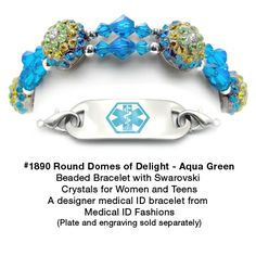 Medical ID Bracelet 1890 Round Domes of Delight-Aqua Green from Medical ID Fashions and Designer Abbe Sennett