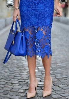 Royal blue crochet lace street style