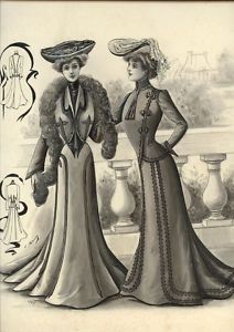 ORIGINAL LAVIS FROM 1900 signed GAULEY - FRENCH FASHION - Rare Museum Drawing