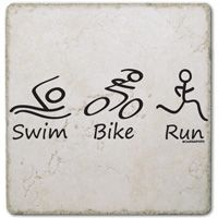 Swim Bike Run (Figure) Stone Coaster