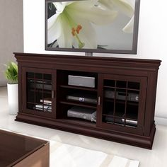 Sonax Carson Dark Espresso 60-inch Wood Veneer TV/ Component Bench | Overstock.com Shopping - The Best Deals on Entertainment Centers