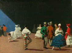Carnaval,Laura Knight (1877-1970) Manchester Art Gallery,1920,101.6x132.6 cm, A depiction of the members of the Ballets Russes on stage before curtain-up.In the right foreground a group of men and women stand together:the men in top hats and striped trousers;the women in peasant type costume with full,brightly-coloured skirts and bonnets.