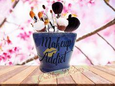 Makeup Addict Brush Jar, Glitter Makeup Jar, Beautiful Brush Holder, Makeup Brush Holder, Glitter Brush Holder, Makeup Organizer, Vanity Jar