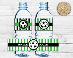 Instant Download Soccer Water Bottle Labels, DIY Printable Green Water Bottle Labels, by Studio20Designs, $1.50 (3 designs included)