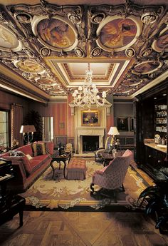 In the Villa Zeffiro music room, original sculpted coffer designs were combined with oil paintings and rich finishes in this Venetian-style salon. Photo Courtesy of Kurt Wenner. Featured in the fall 2015 issue of Santa Barbara Seasons Magazine. http://sbseasons.com/V2jl0 #sbseasons #sb #santabarbara #SBSeasonsMagazine #KurtWenner To subscribe visit sbseasons.com/subscribe.html