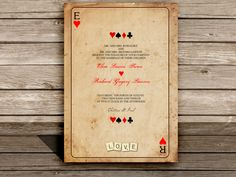 Wedding invitations Birthday Party invitations Vegas PLAYING CARD INVITATION - Fun and Games Themed wedding. $15.00, via Etsy.