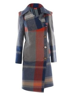 a beautiful wool vivienne westwood length coat with a big blue, grey, and orange tartan print and a big asymmetrical collar and offset buttons. Also known as the Secret Escapes girl coat Look Fashion, High Fashion, Winter Fashion, Womens Fashion, Fashion Design, Vivienne Westwood, Matches Fashion, Jackett, Winter Coat