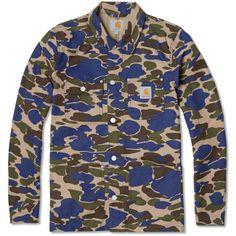 Carhartt Michigan Coat Camo Island & Metro Blue end clothing Mens Fashion Casual Wear, Boy Fashion, High Fashion, Blue Camo, Camo Patterns, Carhartt, Coats For Women, Dapper, Street Wear