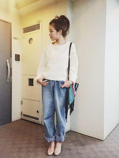 shimo-ne   ☆さんのニット/セーター「JEANASIS 7GワイドスリーブプルオーバーLS/707769」を使ったコーディネート