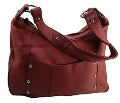 """Leather Concealed Carry Gun Purse Left/Right Hand W/ Locking Zipper Red. Left or right hand draw. Heavy duty locking YKK zipper and a set of two keys. Adjustable and removeable holster. Purse size: 13-1/2""""W X 10""""H X 4""""D. Gun compartment opening approx: 10""""W X 8""""H."""