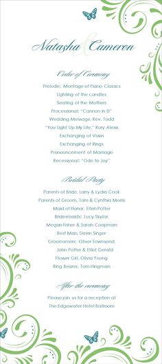 Wedding Program Sample of Emma Monogram or ANY by cdkane59 H A N - wedding agenda sample