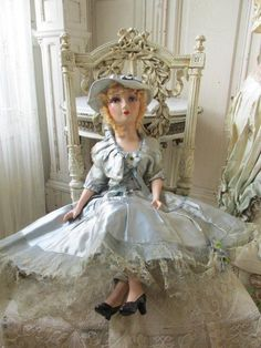 GORGEOUS Old Vintage FRENCH BOUDOIR BED DOLL Original Dress Flowers HAT Blonde