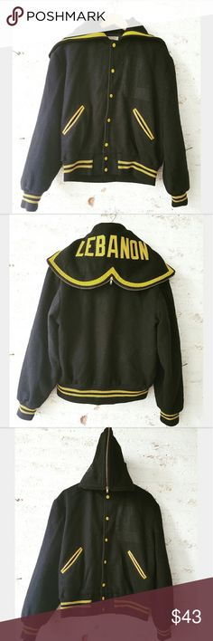 """Super Fab Vintage Letterman Jacket Awesome Vintage piece!! Label size 42 - fits Like women's 8/10 Black Wool with gold trim Leather trimmed pockets Back flap zips to make a hood Letterman """"L"""" has been removed from front left side Some fuzziness from wear on wool but still very good vintage condition  ??PLEASE READ CLOSET INFO AND POLICIES POST?? Vintage  Jackets & Coats"""