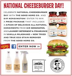 Win this amazing giveaway of a of delicious all natural condiments from Kensington, laundry detergent and fragrance in Vanilla Milkshake from Good Home AND our Tried and True Stain Remover National Cheeseburger Day, Wonderful Things, Good Things, Vanilla Milkshake, Laundry Detergent, Giveaway, Home Goods, Fragrance, Natural