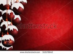 Christmas background with red balls covered snow and copyspace. Modern concept greeting card design for xmas.