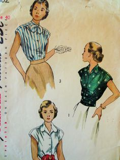 Vintage Simplicity 2802 Sewing Pattern, 1940s Blouse Pattern, Bust 40, 1940s Sewing Pattern, Cummerbund Pattern, Button Front, Tie Collar