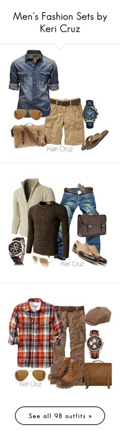 """Men's Fashion Sets by Keri Cruz"" by keri-cruz ❤ liked on Polyvore featuring Old Navy, Jack & Jones, Salvatore Ferragamo, Ray-Ban, J.Crew, Kenneth Cole Reaction, Doublju, Cerruti 1881, Mulberry and 73"