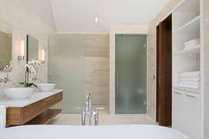 ... Built In White Slekk Towel Cabinets Of Modern Stylish Bathroom Design
