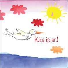 geboortekaartje 'Kira', met ooievaar, roze wolkjes en zon, voor een meisje... Illustratie 'Zus en ik'