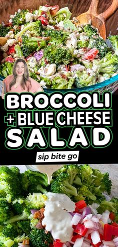 Simple, creamy broccoli and blue cheese salad is loaded with crunchy bites of bacon. Make it for an easy side dish for family dinners, game days, and holidays. Let's throw it together quickly… Salad Recipes For Dinner, Salad Dressing Recipes, Dinner Salads, Healthy Salad Recipes, Potato Sides, Potato Side Dishes, Dinner Side Dishes, Side Dishes Easy, Recipes With Diced Ham
