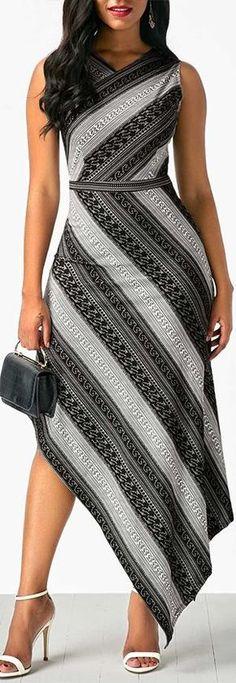 Sleeveless V Neck Printed Asymmetric Hem Dress.