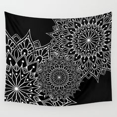 Black And White Mandala Tattoo Wall Tapestry