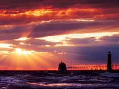 Grand Haven Lighthouse & Pier at sunset - Grand Haven, Michigan