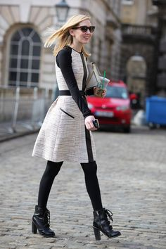 Cutest edgy work outfit for fall (Jason Wu coat on Jane Keltner de Valle)
