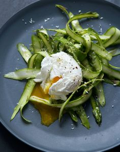 Shaved Asparagus Salad with Poached Egg - Gather Journal