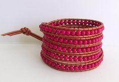 Chan Luu Inspired Wrap Bracelet with Pink Riverstone on Florida Sunset Orange Copper Leather. $36.95, via Etsy.