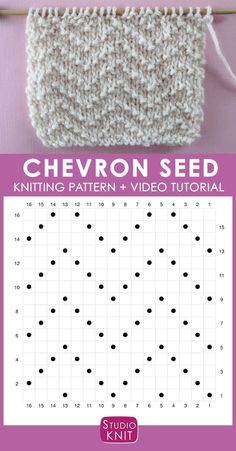 How to Knit the Chevron Seed Stitch Pattern with Studio Knit - Strickmuster - How to Knit the Chevron Seed Stitch Pattern with Studio Knit Chevron Seed Knit Stitch Pattern Chart with Video Tutorial by Studio Knit Knitting Stiches, Knitting Charts, Easy Knitting, Loom Knitting, Knitting Patterns Free, Crochet Stitches, Stitch Patterns, Knitting Machine, Free Pattern