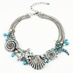 $8.51 Vintage Diamante Starfish and Shell Pendant Alloy Necklace For Women