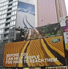 Brilliant Land Rover Billboards - advertising the true overlander Street Marketing, Guerilla Marketing, Marketing And Advertising, Billboards Advertising, Funny Billboards, Billboard Design, Ad Car, Bergen County, Best Ads