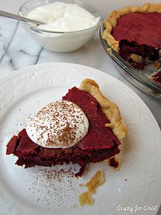 Red Velvet Brownie Pie with Cream Cheese Whipped Cream