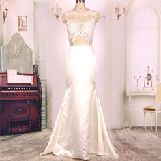 2016 New Cheap Nude Tulle Iovry Lace Long Mermaid Prom Dresses Gowns, Formal Evening Dresses Gowns, Homecoming Graduation Party Dresses, Wedding Dress,Custom Plus size