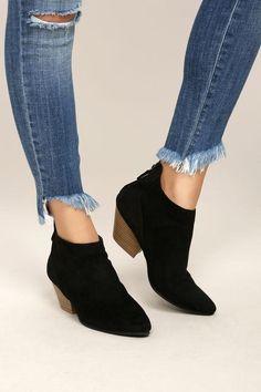 #AdoreWe #Lulus Lulus❤️Designer Footware Misha Black Suede Ankle Booties - AdoreWe.com
