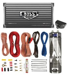 Boss AR1600.4 1600W 4-Ch Amplifier with Remote + 2.0 Farad Capacitor + Amp Kit (Package)